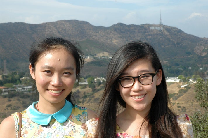 Sally Guo and Susanna Niu enjoy the view from Mulholland Drive