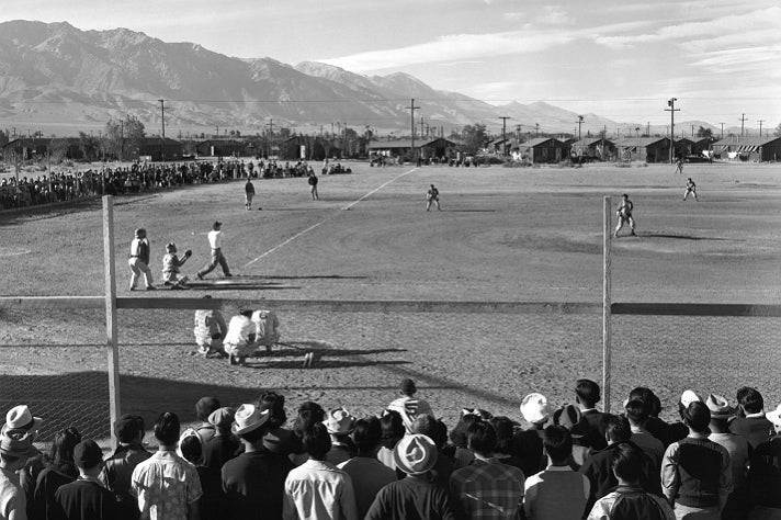 "Ansel Adams, ""Baseball,"" 1943 [detail]. Gelatin silver print (printed 1984). Private collection; courtesy of Photographic Traveling Exhibitions."