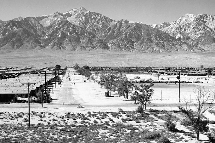 "Ansel Adams, ""Manzanar from Guard Tower,"" 1943 [detail]. Gelatin silver print (printed 1984). Private collection; courtesy of Photographic Traveling Exhibitions."