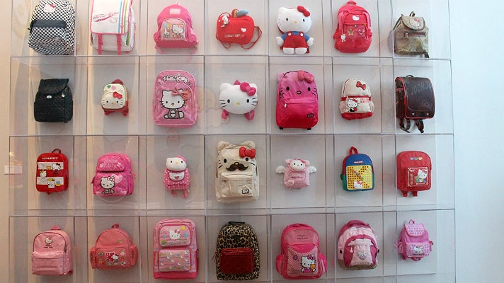 Wall of Hello Kitty backpacks at JANM