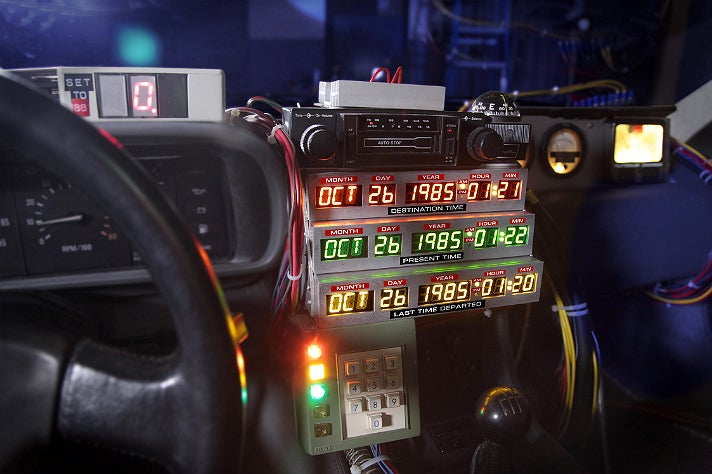 """Interior of the """"Back to the Future"""" DeLorean at Petersen Automotive Museum"""