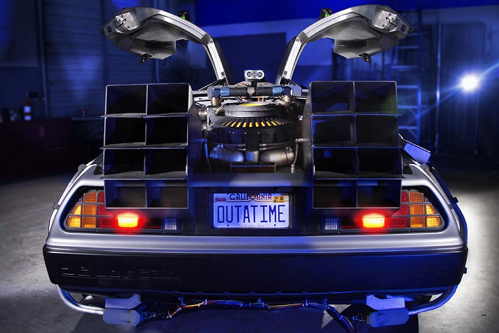 """Rear view of the """"Back to the Future"""" DeLorean at Petersen Automotive Museum"""