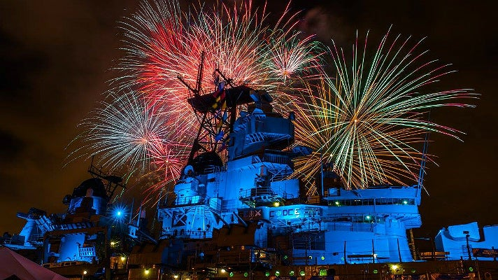 Fireworks at Battleship IOWA during L.A. Fleet Week