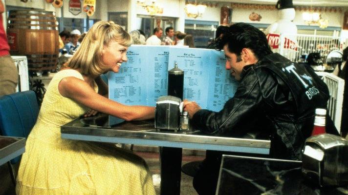 """Sandy and Danny at the Frosty Palace in """"Grease"""""""