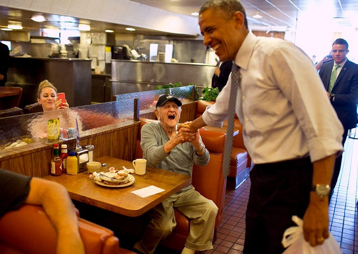 President Obama at Canter's Deli in July 2014