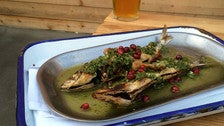 Broiled sardines at Playa Provisions