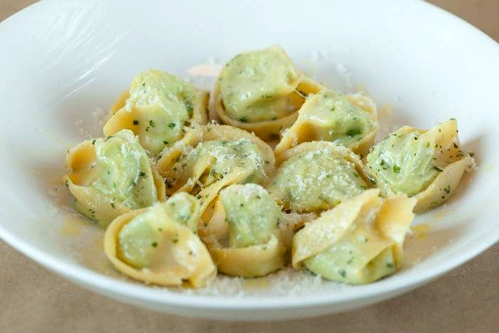 Cappellacci with english peas, ricotta and parmigiano reggiano at Gusto