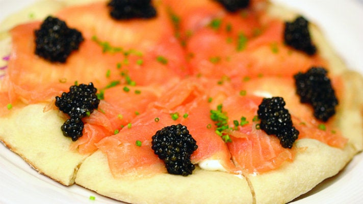 Smoked salmon pizza at Spago Beverly Hills